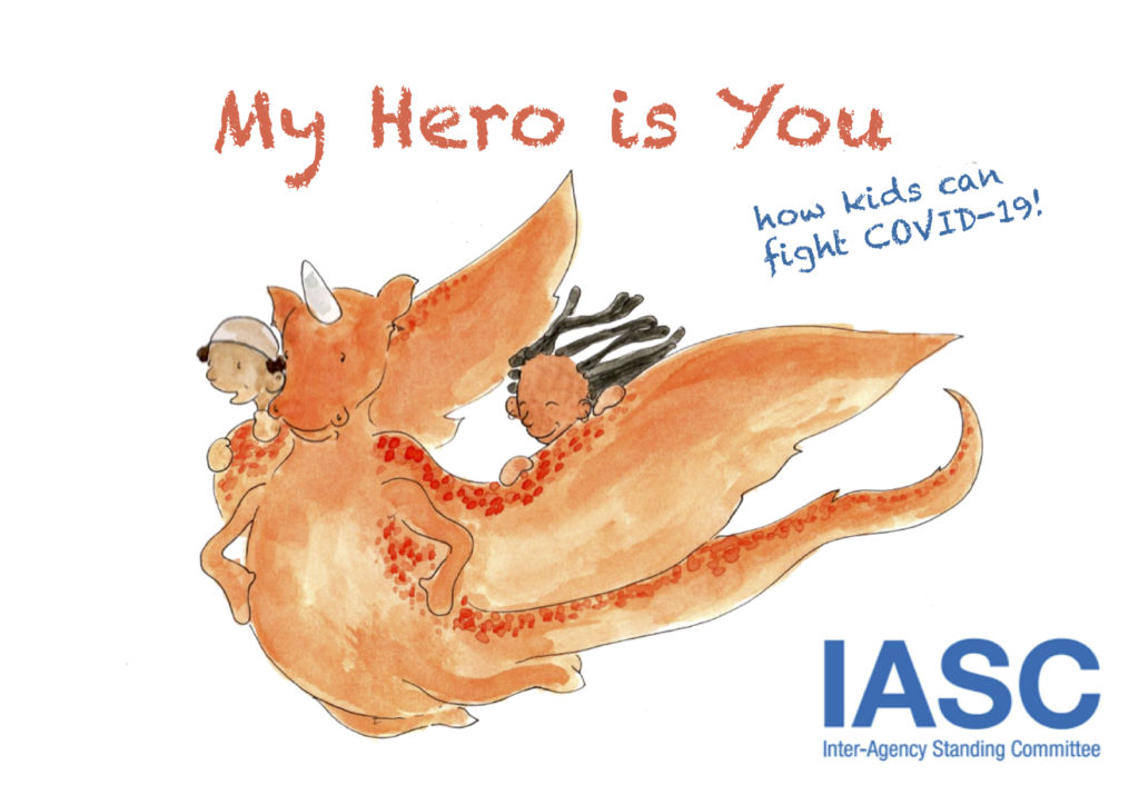 The cover of a children's book. Drawing of two children riding an orange dragon.