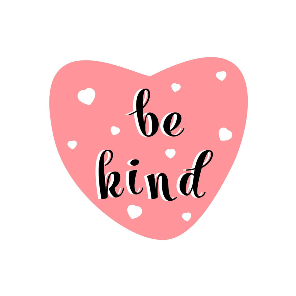 "A picture of a pink heart that says ""be kind"""