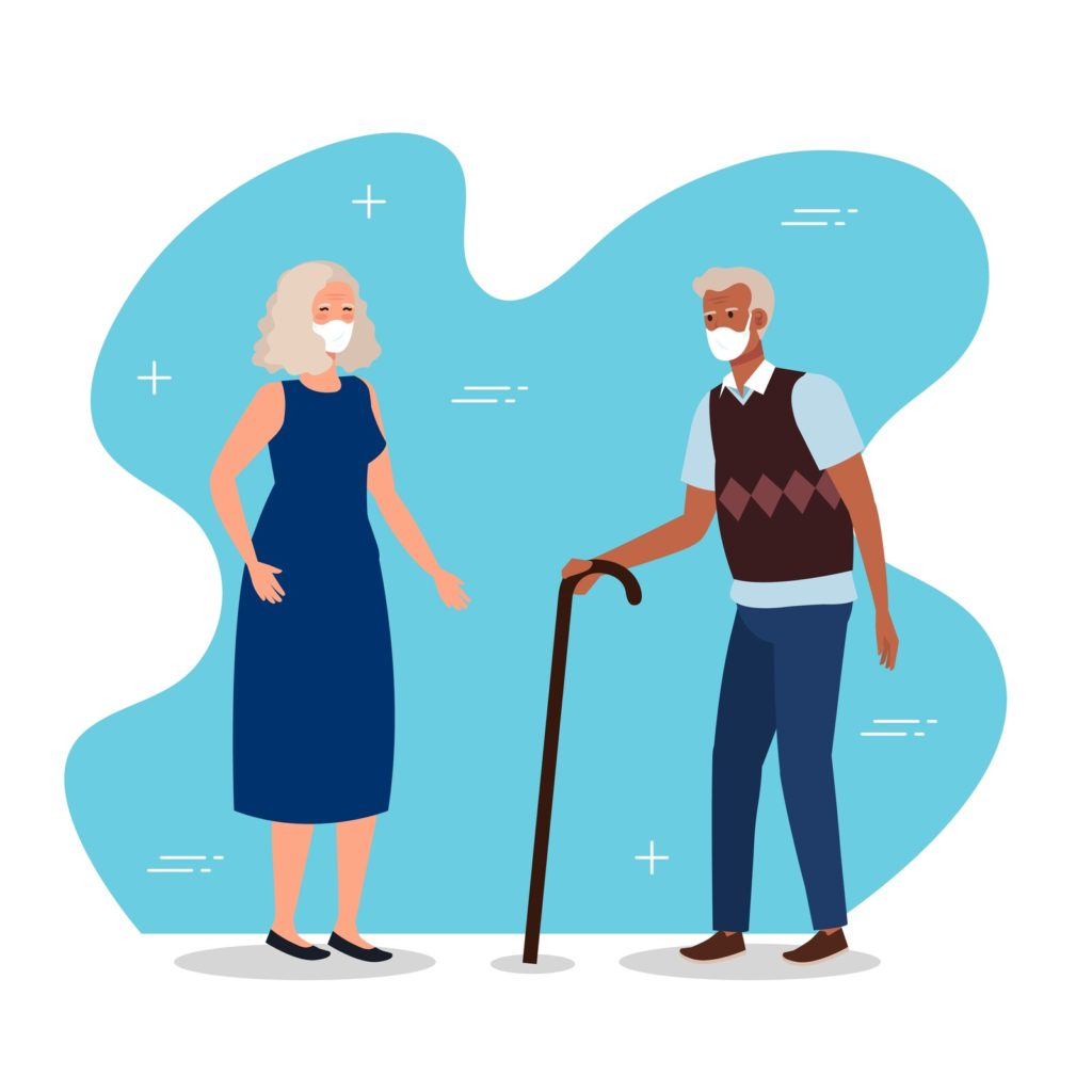 Illustration of and older woman and an older black man holding a cane. Both are wearing masks.