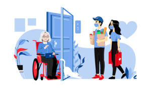 Illustration of two people delivering groceries to an older woman in a wheelchair.