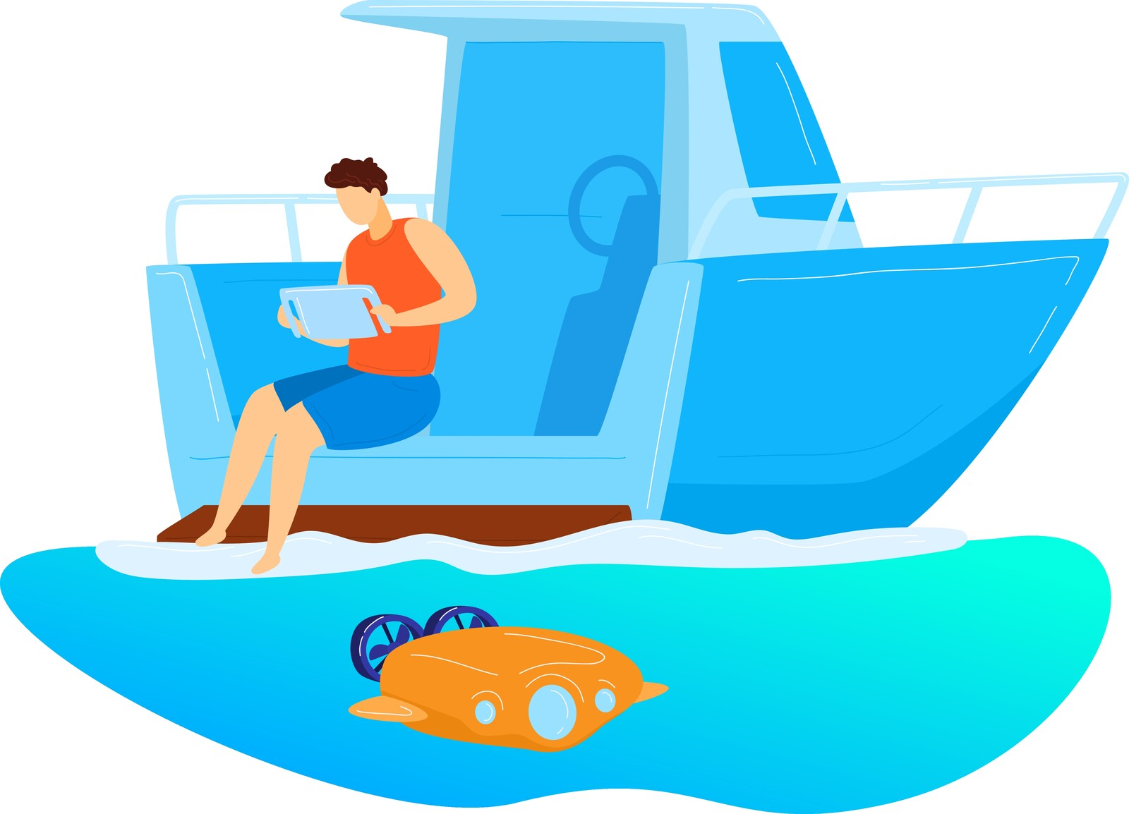 Illustration of a man sitting on a boat.