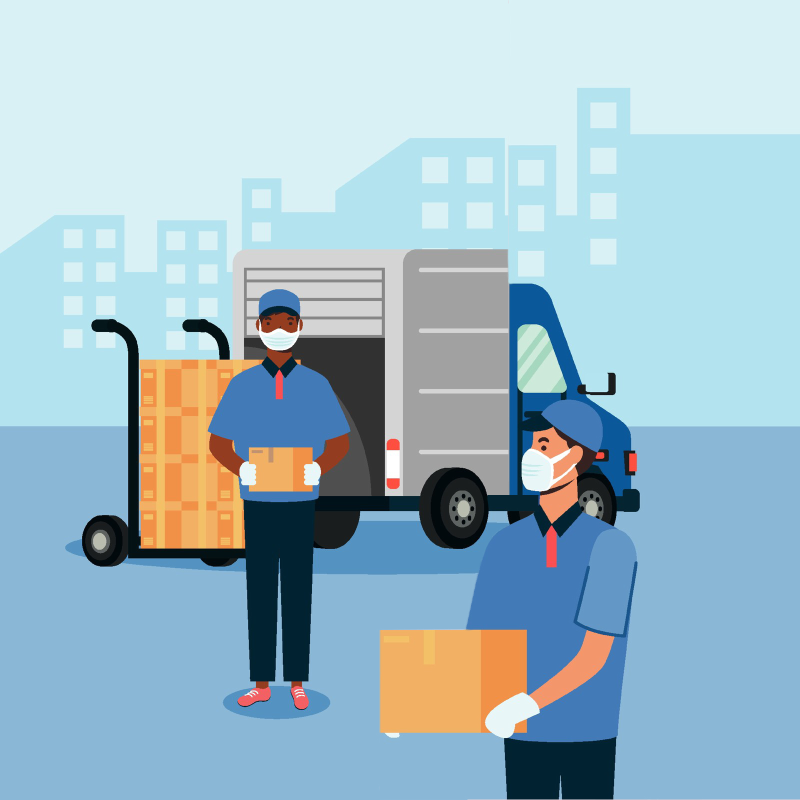 Two postal delivery people wearing face masks.