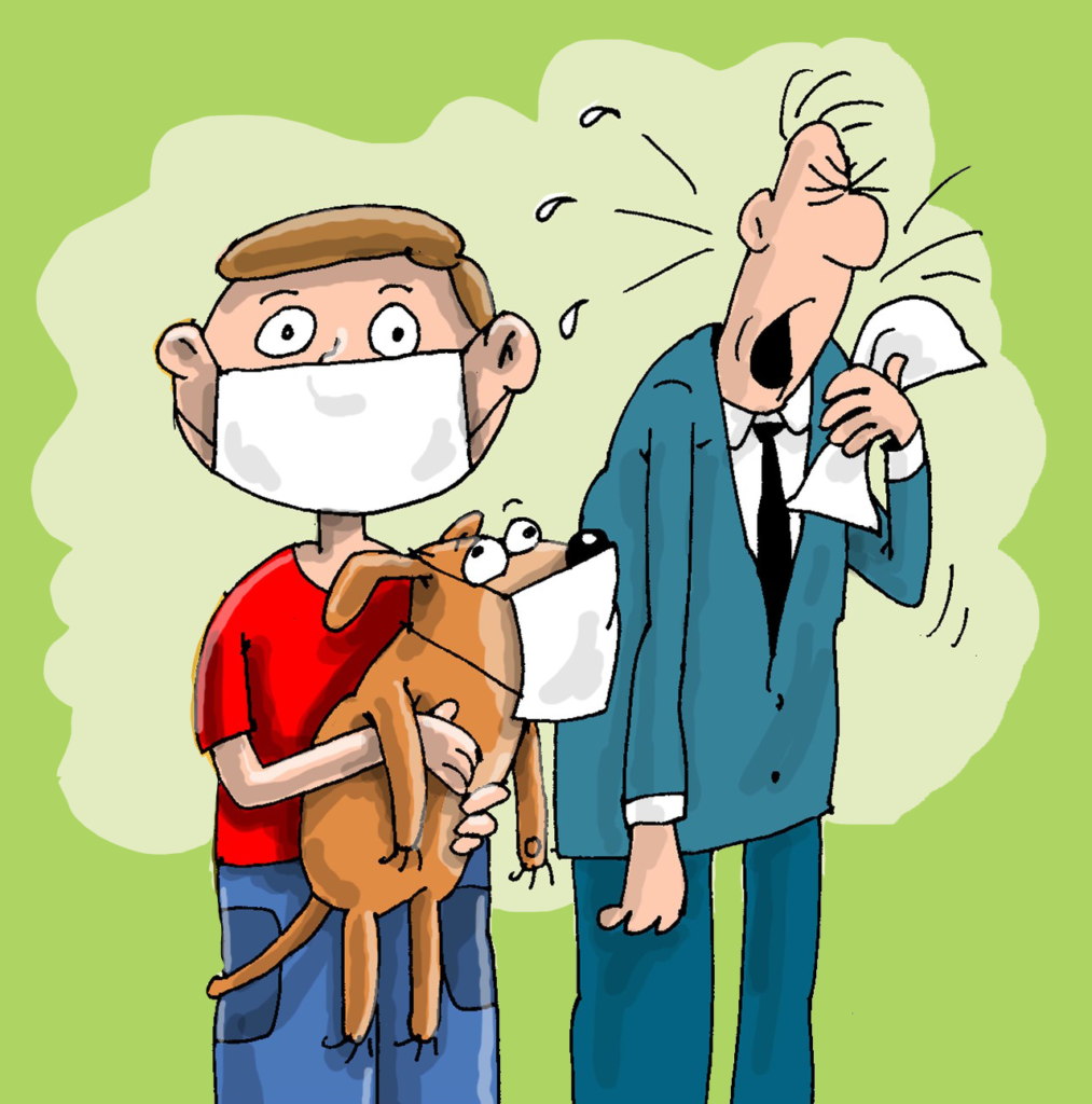 An illustration of a young boy wearing a mask holding a dog wearing a mask. A man is coughing into a tissue behind them.