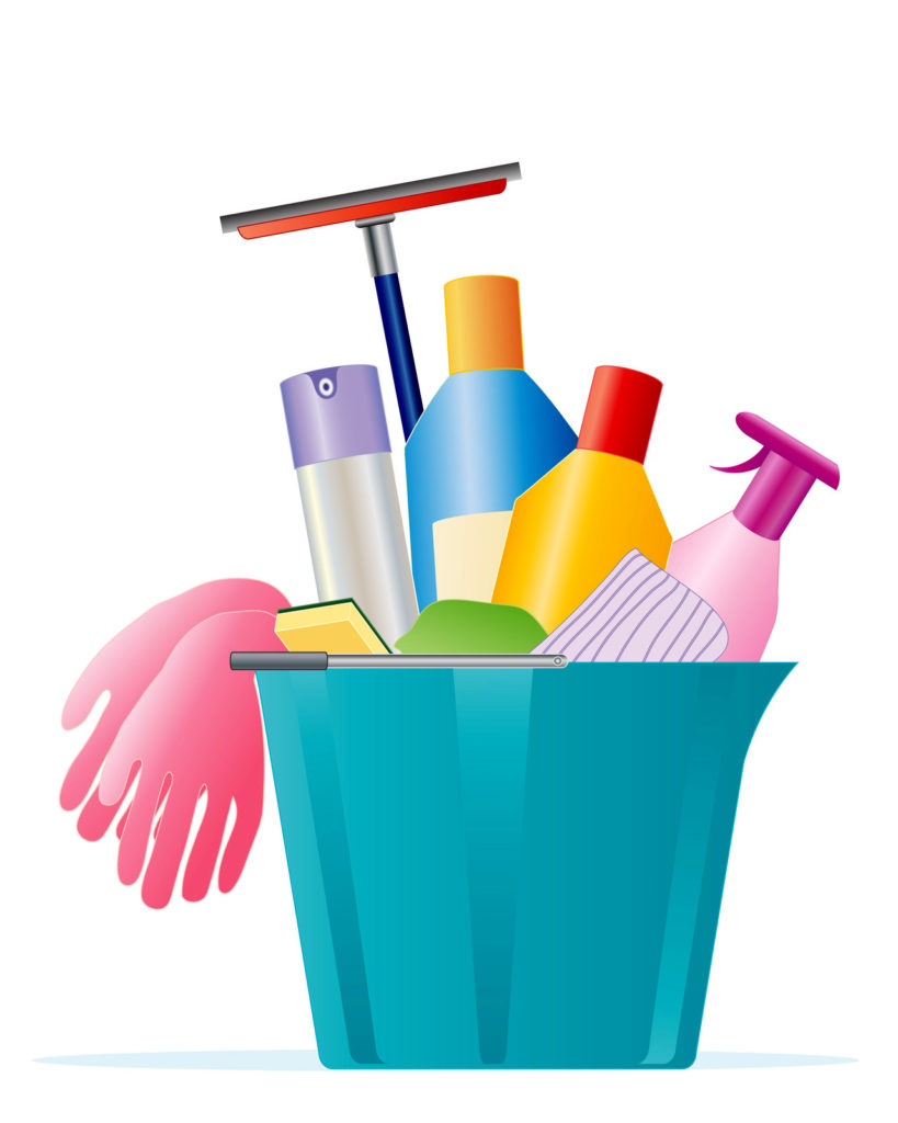 An illustration of a bucket of cleaning supplies.